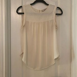 LOFT Sheer Ivory Sleeveless Top- PETITE